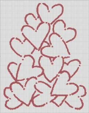 Схема для вишивки - гора сердець