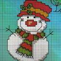 Новорічні схеми для вишивок - сніговички