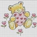 Схема для вишивки - Закоханий ведмедик