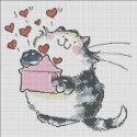 Схема для вишивки - закоханий кіт