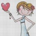 Схеми для вишивок на День Валентина - дівчина з серцем