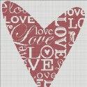 Схема для вишивки - серце із написами