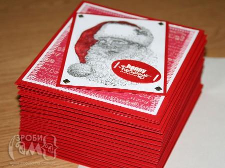 Новорічні листівки для всієї родини (або міні-конвеєр листівок)