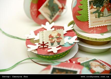 Прикраси на ялинку з котушок від стрічок (Christmas Joy)