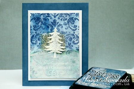 Фон для новорічних листівок за допомогою гарячого ембоссінгу та розмальовування пальцями