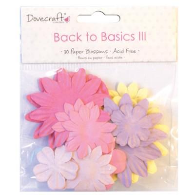 Набір паперових квітів Back to Basics III Blossoms, 30 шт