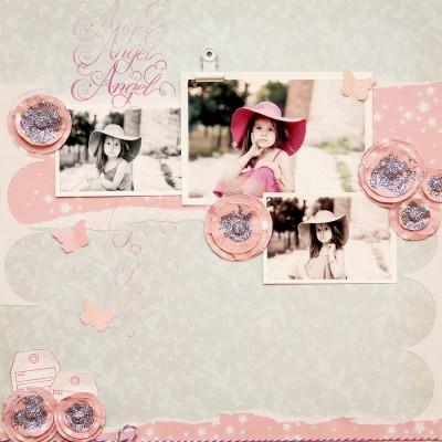 Міні огляд колекції Princess Fairytale від Dovecraft. Виготовлення скрап сторінки Angel