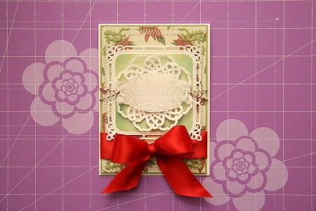 Новорічні листівки із колекції Christmas Village а ножів Spellbinders. Листівка Seasons Greetings