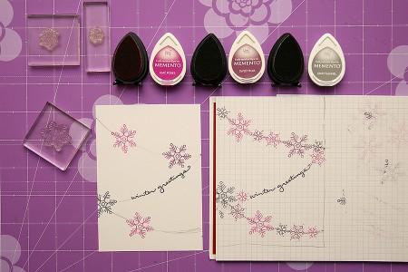 Листівки із гірляндами зі сніжинок для Stampendous