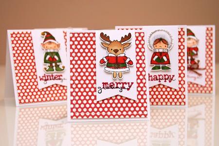 Серія новорічних листівок із кумедними персонажами для Stampendous