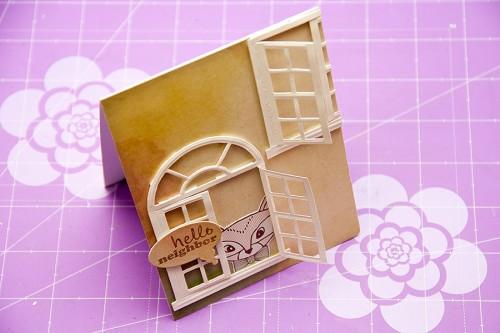 Листівка ручної роботи використовуючи папір DIY Shop від Crate Paper та ніж Window Four S2-052 від Spellbinders