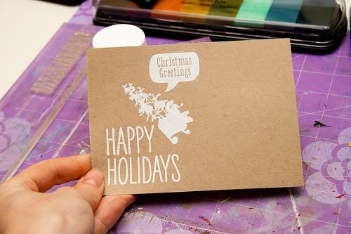 Майстерня різдвяних листівок 2013 | Імітація крейдової дошки не лише на чорному картоні