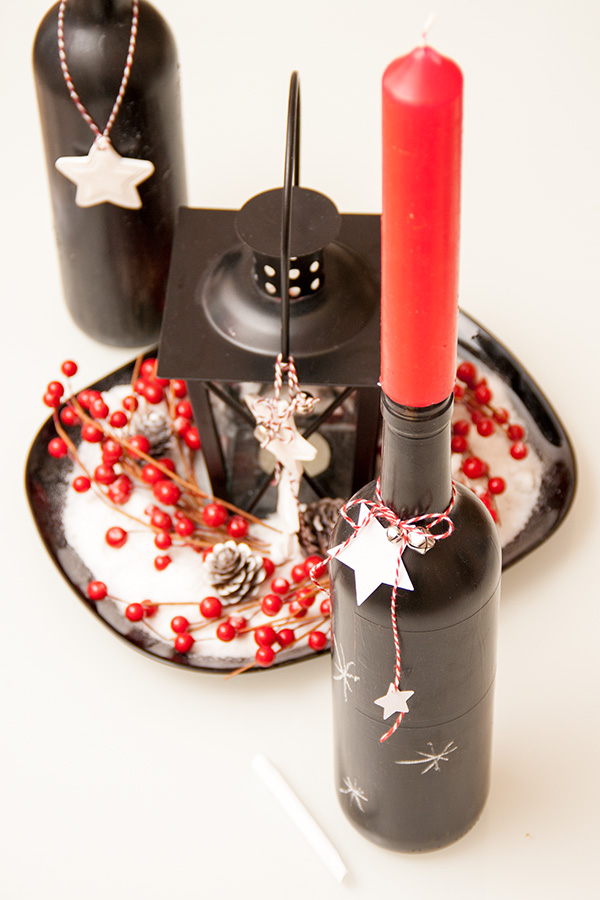 How to make a chalkboard bottle candle holder