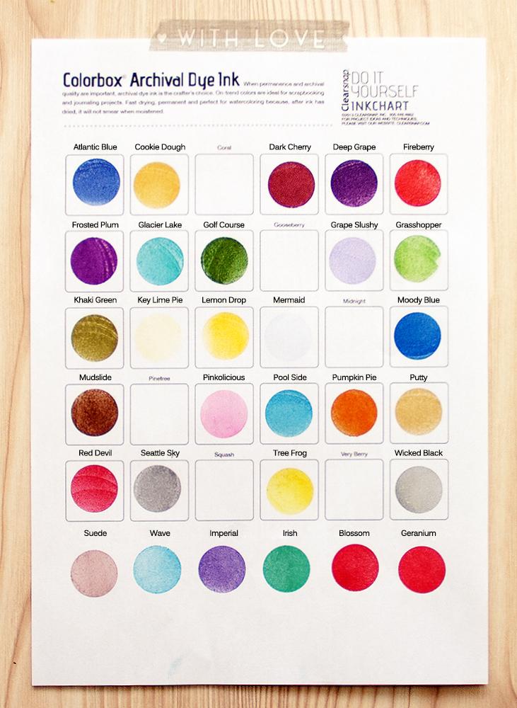 Кольоро-путівник по барвниковому чорнилу Dye Archival ColorBox від ClearSnap