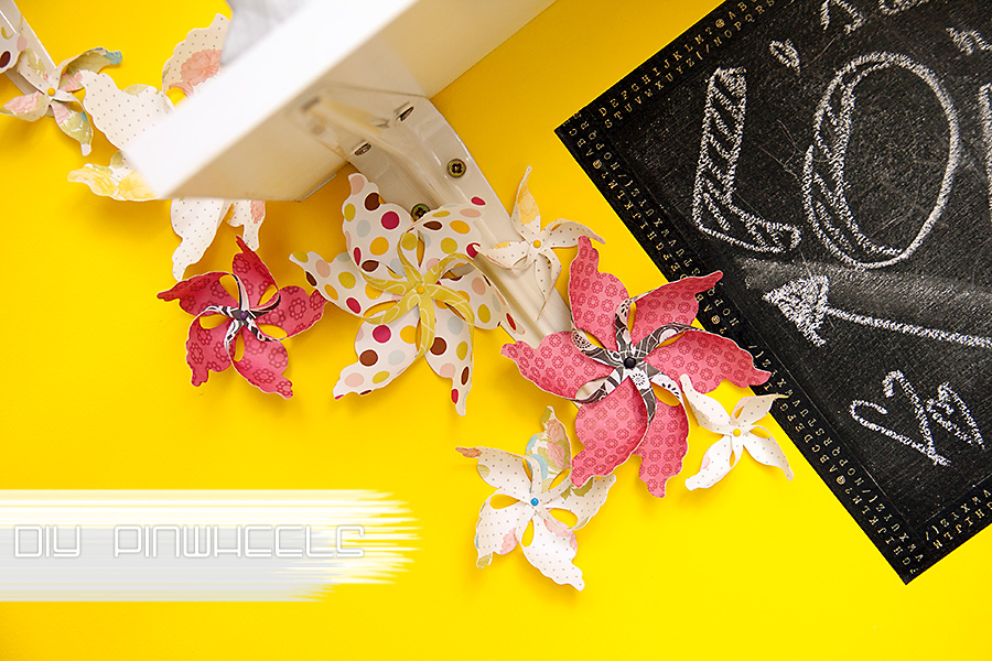 Paper pinwheels as a wall decor