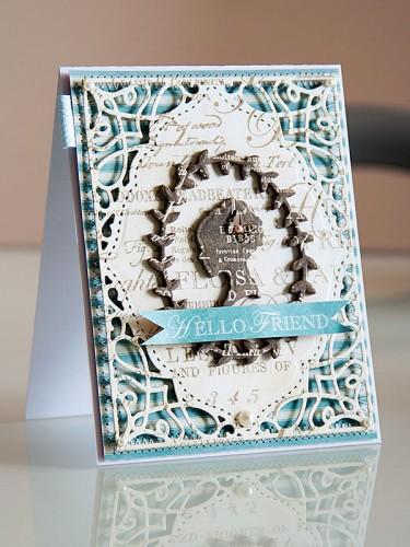 Листівка Hello Friend. Spellbinders Card Creator - A2 Tranquil Moments S5-216 та In'spire - Silhouette IN-010