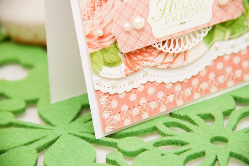 Hello Friend Card using #Spellbinders and #Graphic45 products. Spellbinders dies used: A2 Scalloped Borders One S5-182, Elegant Ovals S4-425, Silhouette IN-010. Graphic 45 products from the Botanical Tea collection.