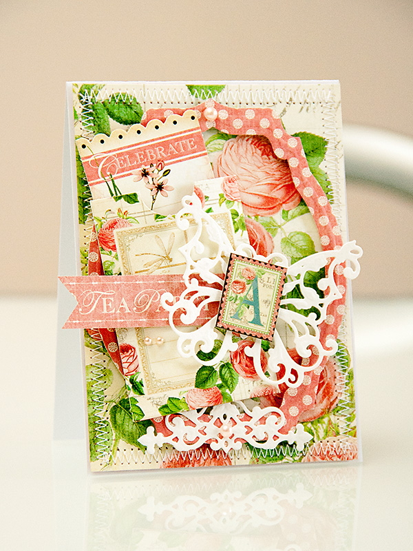 Tea Party card using #Spellbinders and #Graphic45 products. Spellbinders dies used:Labels Thirty Six S4-418 та Outrageous Butterfly, S2-069. Graphic 45 products from the Botanical Tea Collection.