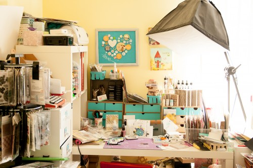 A peek into my craft corner (for MoxieFab) plus a card