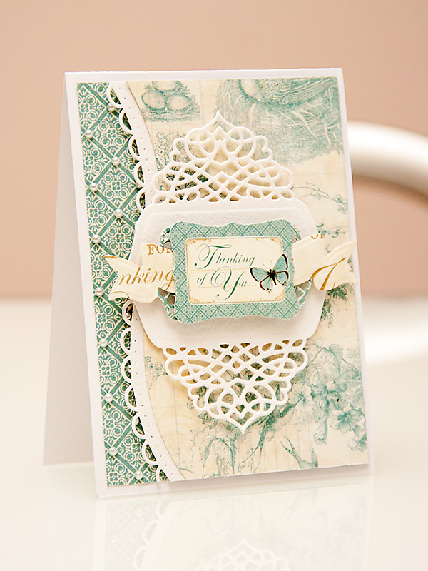 A Thinking of You card using dies from #Spellbinders and papers from #Graphic45 #BotanicalTea Collections. Spellbinders dies used: A2 Tranquil Moments S5-216, Curved Borders Two S5-201, Ribbon Banners S4-324, Outrageous Butterfly S2-069. Please visit my blog at https://www.yanasmakula.com/?p=43765 for more photos and video tutorial.