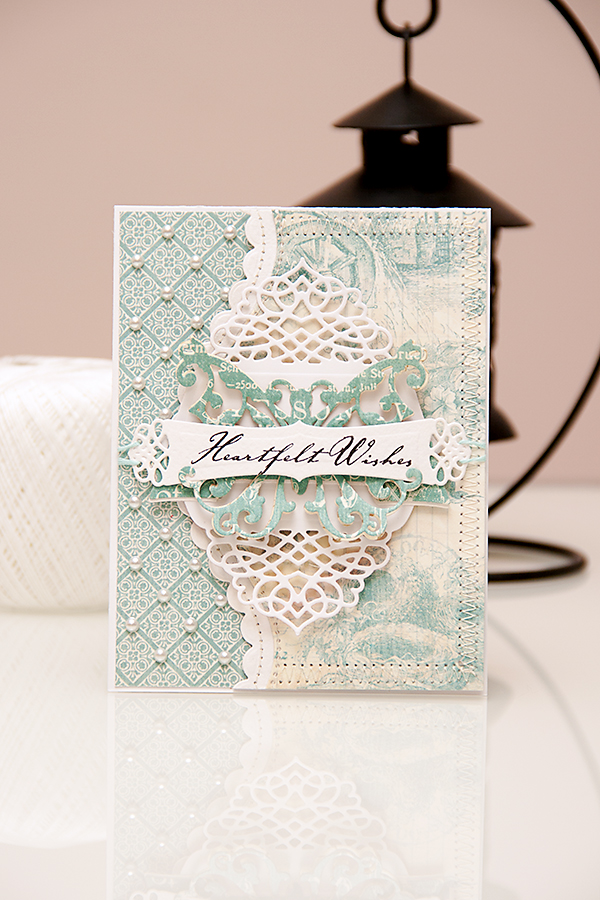 "A ""Heartfelt Wishes"" card using dies from #Spellbinders and papers from #Graphic45 #BotanicalTea Collections. Spellbinders dies used: A2 Tranquil Moments S5-216, Curved Borders Two S5-201, Ribbon Banners S4-324, Outrageous Butterfly S2-069.   Please visit my blog at https://www.yanasmakula.com/?p=43765 for more photos and video tutorial."