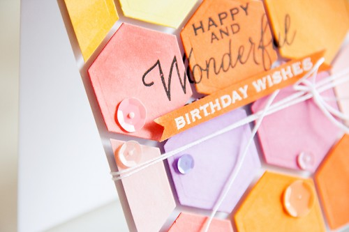 Yana Smakula | Colorful Hexagon Card using Spellbinders #Hexagon die and Hero Arts Birthday Stamps