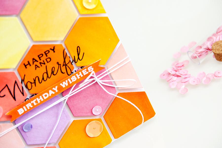 Yana Smakula | Colorful Hexagon Card using Spellbinders #Hexagon die and Hero Arts Birthday Stamps