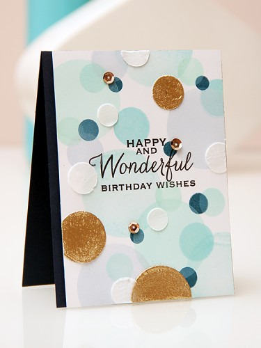 Yana Smakula | A Bokeh background card using stamps from Hero Arts and inks from ClearSnap