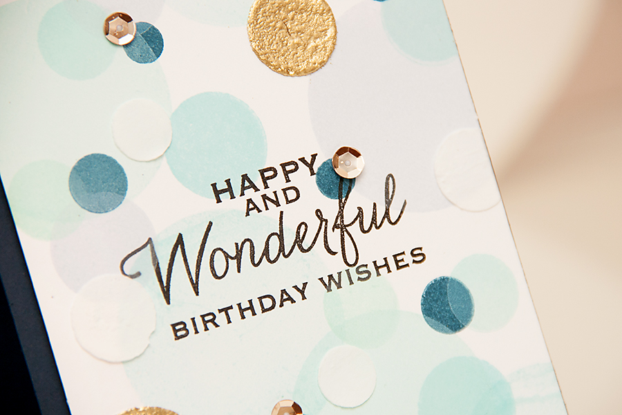 Yana Smakula | A Bokeh background birthday card using stamps from Hero Arts and inks from ClearSnap