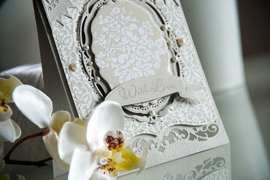 Yana Smakula | With Love Card using papers from Bella Rose (First Edition) and dies from #Spellbinders. Gold Corners One S4-393, A2 Bracket Borders One S5-181, Opulent Ovals S5-160, Ribbon Banners S4-324