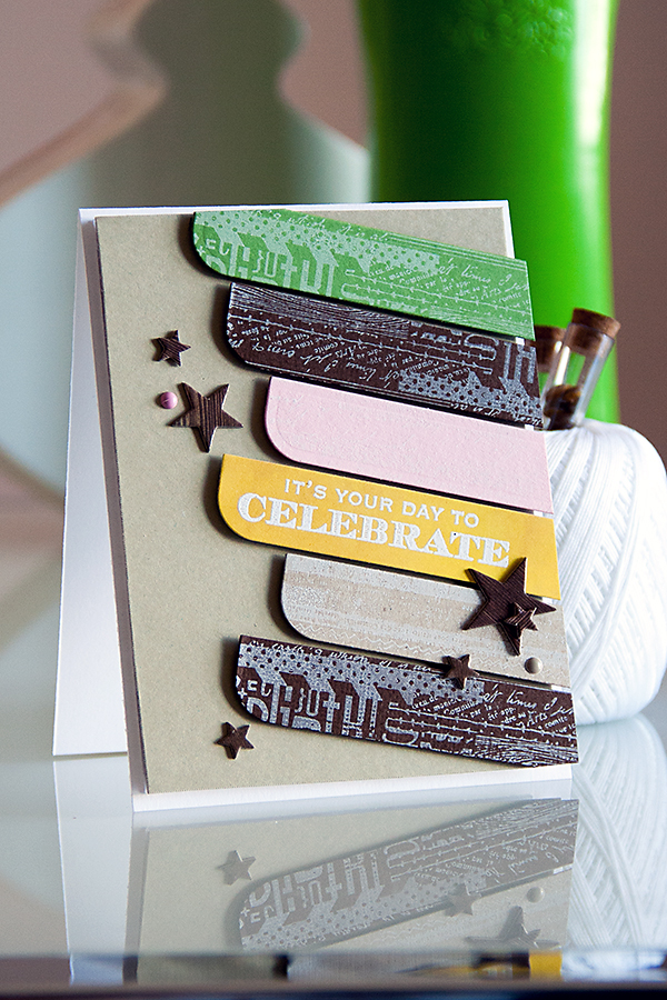 Yana Smakula | Masculine Card with die cut and stamped diagonal elements