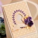 CASD#30 Elegant window card with flowers and gold accents