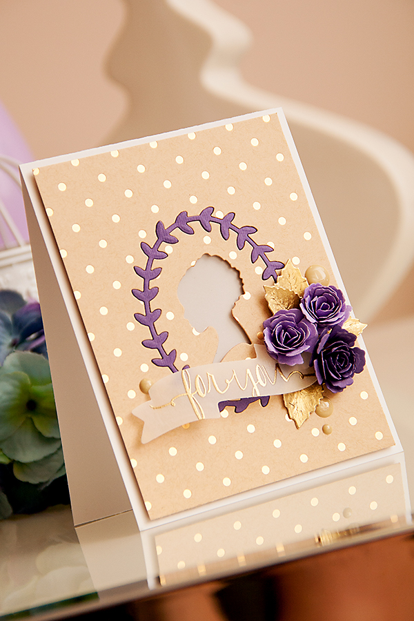Yana Smakula | Clean & Simple Die Cutting with #Spellbinders | Dies used: IN-010 Silhouette, S5-086 Bitty Blossoms, S5-143 Jewel Flowers and Flourishes, S4-324 Ribbon Banners