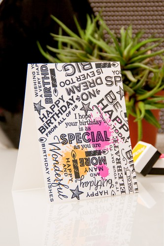 Yana Smakula | Video. Many Birthday Messages Card using Hero Arts stamps and neon inks