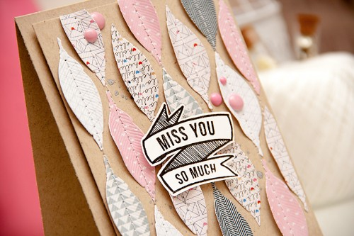 Yana Smakula | Card a Month: Miss You So Much using #Spellbinders feather die, Pen Pals papers from Pink Paislee and stamps from Hero Arts & Studio Calico