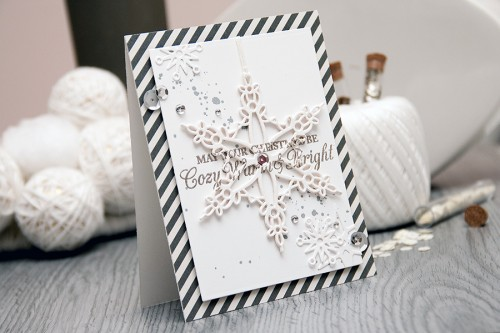 Yana Smakula | Spellbinders - Warm Cozy & Bright Holiday Card using S4-433 Snowflake Bliss dies. For more cardmaking ideas and video tutorials please visit https://www.yanasmakula.com/?lang=en