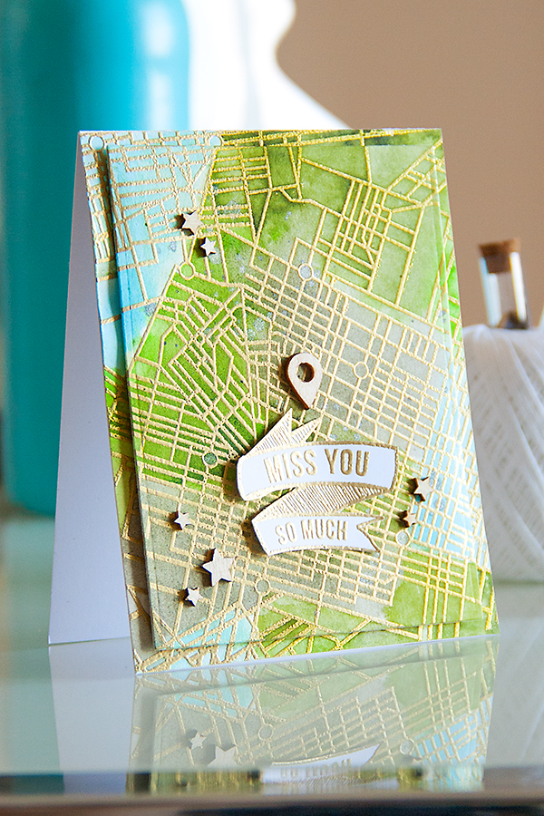 Yana Smakula | Hero Arts City Map Background Miss You Card and video. For more cardmaking ideas please visit https://www.yanasmakula.com/?lang=en