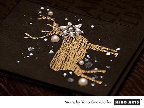 Yana Smakula | Hero Arts Modern Holiday Cheer Reinderr Card. For more cardmaking ideas and videos, please visit https://www.yanasmakula.com/?lang=en
