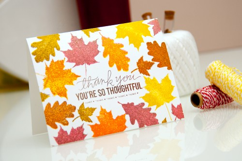 Yana Smakula | Fall Thank You Card with Simon Says Stamp products. For more cardmaking ideas and video tutorials, please visit https://www.yanasmakula.com/?lang=en