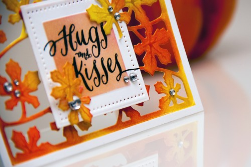 Yana Smakula | Inspired by Pinterest Fall Hugs & Kisses Card with inked background and a window using dies from Spellbinders and stamps from WPlus9. For more cardmaking ideas and video tutorials please visit https://www.yanasmakula.com/?lang=en