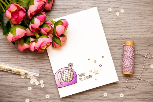 Yana Smakula | Create a Smile - Perfect Tune - Thanks for listening Card. #cardmaking #stamping #copiccoloring