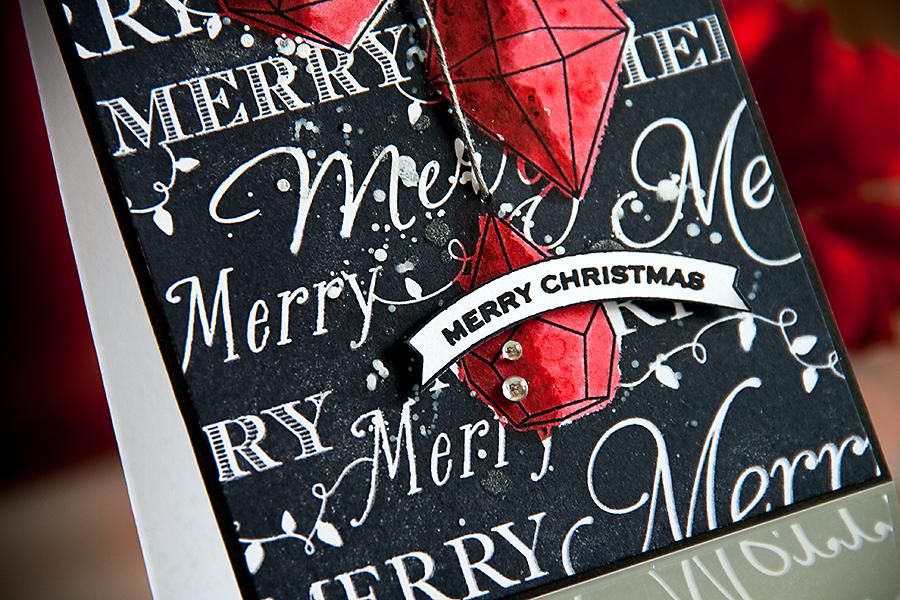 Yana Smakula | Hero Arts Merry Christmas Black & Red Card. For more cardmaking ideas please visit http://www.zrobysama.com.ua/?lang=en