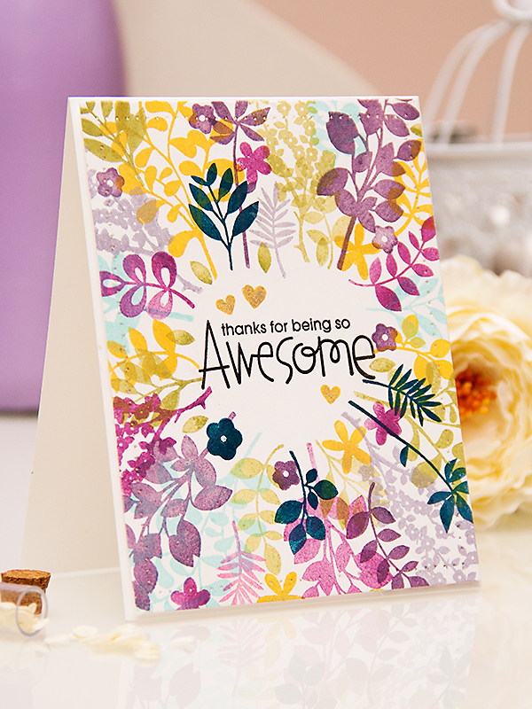 Yana Smakula | Paper Smooches - Thanks for Being So Awesome Card. For more cardmaking ideas and videos, please visit https://www.yanasmakula.com/?lang=en #cardmaking #stamping #papersmooches, #clearsnap