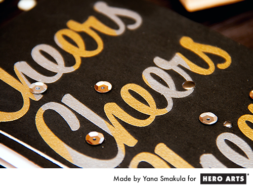 Yana Smakula | Hero Arts Holiday Cheers Card with gold and silver embossing