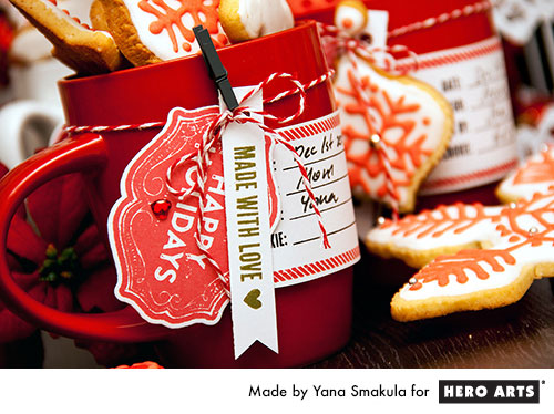 Yana Smakula | Hero Arts Creative Cookie Packaging in a cup using stamps #holidaybaking #cookiepackaging #packaging #stamping
