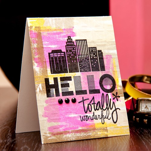 Yana Smakula | Hero Arts Hello Totally Wonderful Card #basicgrey #heroarts #cityscape #stamping #brushstrokes For more cardmaking ideas and video tutorials please visit https://www.yanasmakula.com/?lang=en