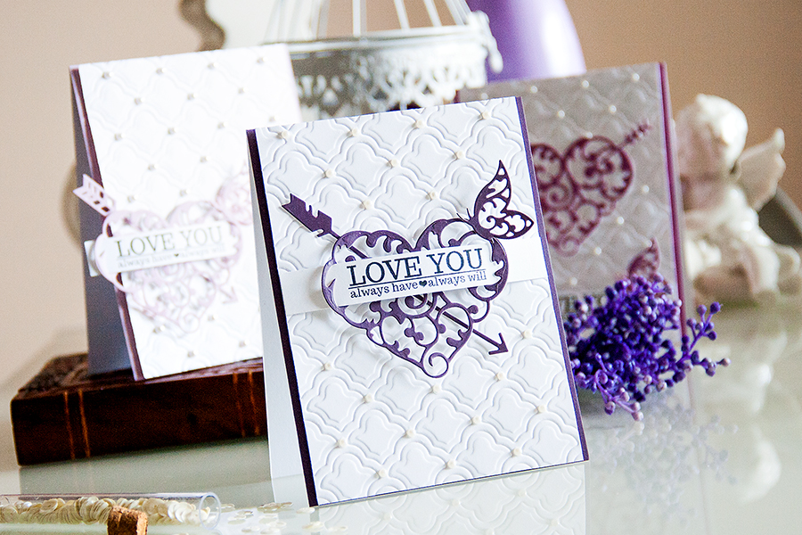 Yana Smakula | Elegant Valentine's Day Cards. For more cardmaking ideas and videos please visit https://www.yanasmakula.com/?lang=en #spellbinders #valentine #love #handmade