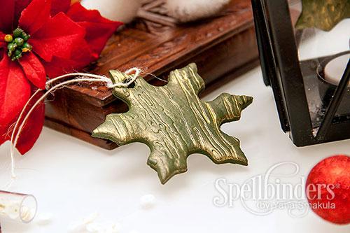 Yana Smakula | Embossed Clay Holiday Ornaments with Spellbinders #spellbinders #ornament #clay #diy