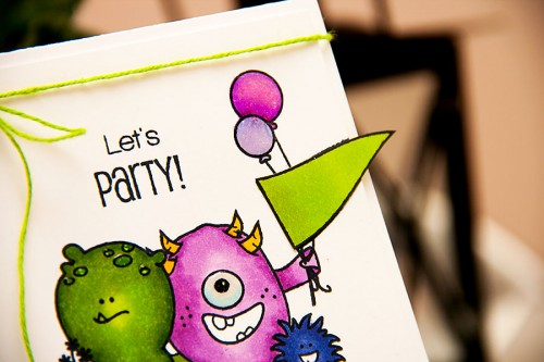 Yana Smakula | Create A Smile - Monster Birthday Party Card #stamping #copic #monster #birthday