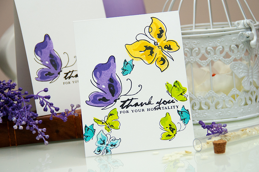 Yana Smakula   Video! One Layer Painted Butterflies Thank You Card . Pinterest Inspired #46 #stamping #cardmaking #onelayer #altenew